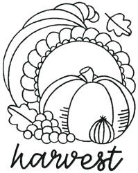 Cornucopia Harvest embroidery design