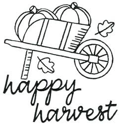 Wheelbarrow of Pumpkins embroidery design