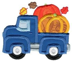 Pumpkin Vintage Truck Applique embroidery design