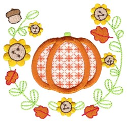 Fall Pumpkin & Laurel Applique embroidery design