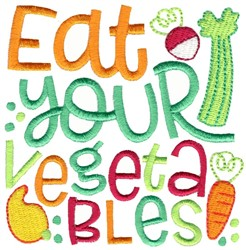 Eat Your Vegetables embroidery design