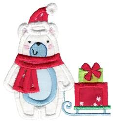 Christmas Polar Bear Applique embroidery design