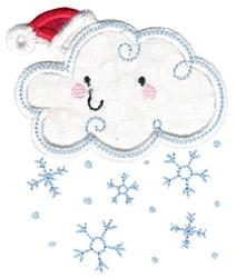 Christmas Snow Cloud Applique embroidery design