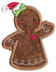 Christmas Gingerbread Lady Applique embroidery design