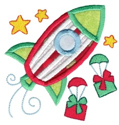 Christmas Rocket Ship Applique embroidery design