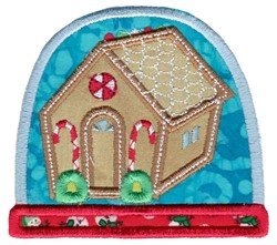 Gingerbread House Snow Globe Applique embroidery design