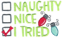 Naughty Nice I Tried embroidery design
