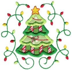 Applique Christmas Tree & Laurel embroidery design