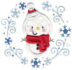 Applique Snowman & Laurel embroidery design