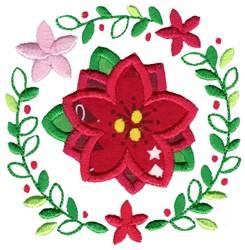 Applique Poinsettia & Laurel embroidery design