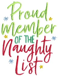 Member Of The Naughty List embroidery design