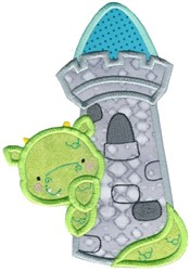 Dragon & Tower Applique embroidery design