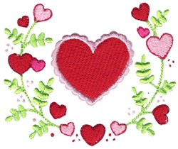 Heart & Laurel embroidery design