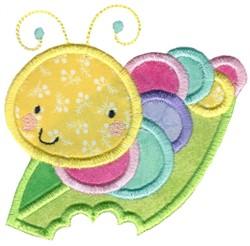 Applique Caterpillar On A Leaf embroidery design