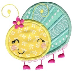 Applique Girl Beetle embroidery design