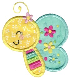 Applique Butterfly Side View embroidery design
