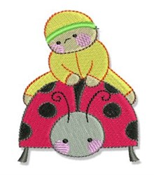 Bubbaboo In Spring & Ladybug embroidery design