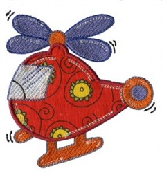 Applique Boys Toy Helicopter embroidery design