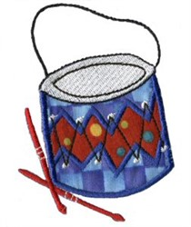 Applique Boys Toy Drum embroidery design