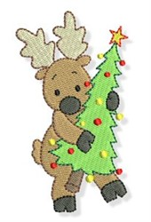 Reindeer & Tree embroidery design