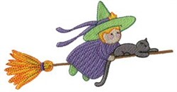 Witch & Cat embroidery design