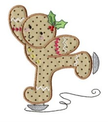 Skating Gingerbread Applique embroidery design