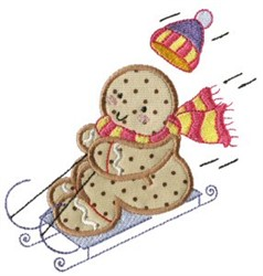 Sledding Gingerbread embroidery design