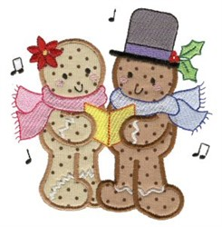 Gingerbread Carolers embroidery design