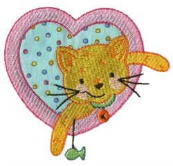 Cat Heart embroidery design
