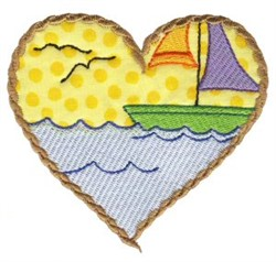 Sailboat Heart embroidery design