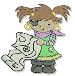 Treasure Map Girl embroidery design