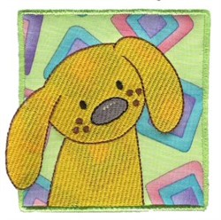 Dog In Block embroidery design