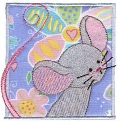 Spring Mouse Applique embroidery design