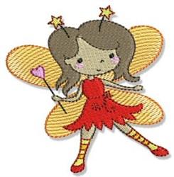 Brunette Fairy Girl embroidery design