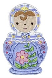 Blue Applique Russian Doll embroidery design