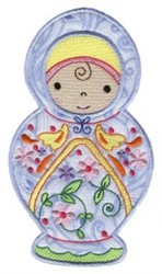 Cute Applique Russian Doll embroidery design