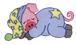Dreaming Pig embroidery design