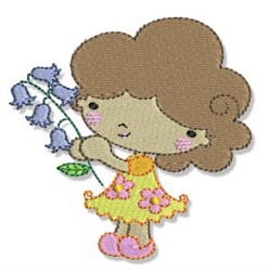 Spring Cutie & Bluebells embroidery design