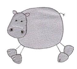 Stick Figure Hippo embroidery design