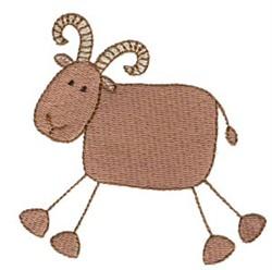Stick Figure Ram embroidery design
