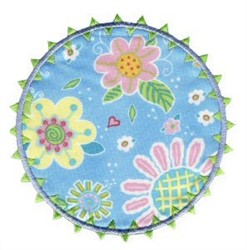 Round Floral Applique Patch embroidery design