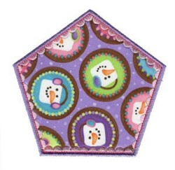 Pentagon Snowman Applique Patch embroidery design