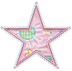 Pink Star Applique Patch embroidery design