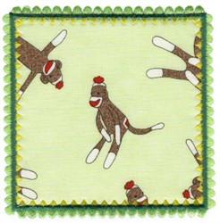Square Monkey Applique Patch embroidery design