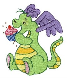 Daring Dragon With Cupcake embroidery design