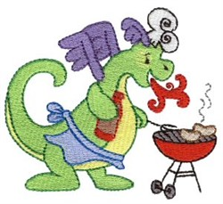 Daring Dragon Grilling embroidery design