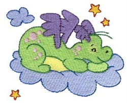 Daring Dragon On Clouds embroidery design