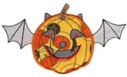 Halloween Pumpkin Bat Applique embroidery design