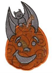 Applique Jack-O-Lantern & Bat embroidery design
