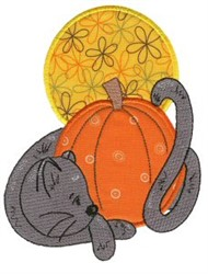 Applique Pumpkin & Cat embroidery design